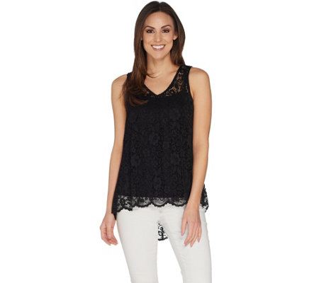 Attitudes by Renee Sleeveless Lace Top w/ Hi-Low Hem