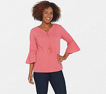 Denim & Co. Crinkle Gauze Bell Sleeve Top with Dot Lace Detail - A306777