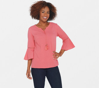 Denim \u0026 Co. Crinkle Gauze Bell Sleeve Top with Dot Lace Detail - A306777