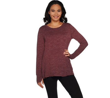 """As Is"" AnyBody Loungewear Cozy Knit Relaxed Peplum Top"