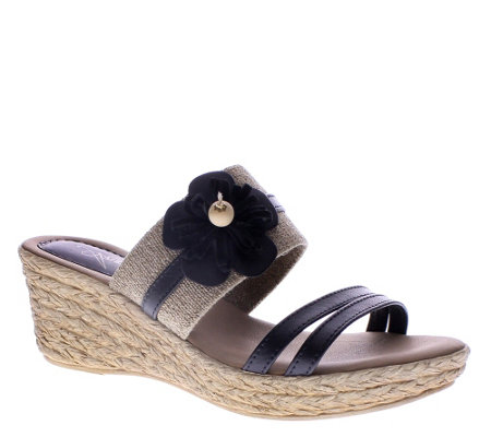 Azura by Spring Step Leather Wedge Slide Sandals - Aketi