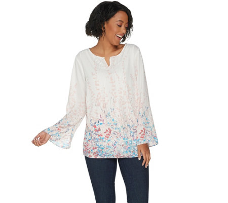 """As Is"" Belle by Kim Gravel Floral Print Pintuck Blouse"