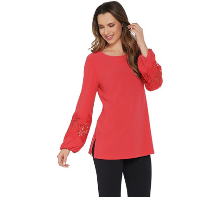 """As Is"" Dennis Basso Caviar Crepe Tunic with Lace- Trimmed Sleeves"