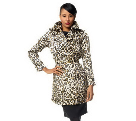 Joan Rivers Animal Print Belted Trenchcoat