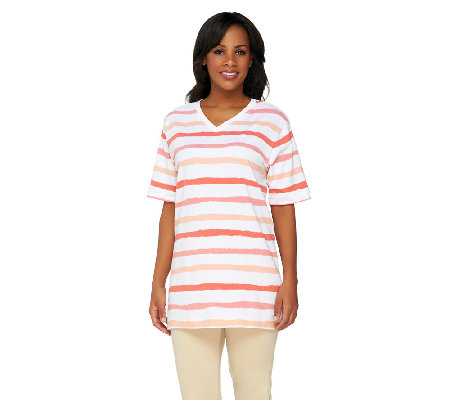 Denim & Co. Perfect Jersey Short Sleeve Oversized Multi -Stripe Top