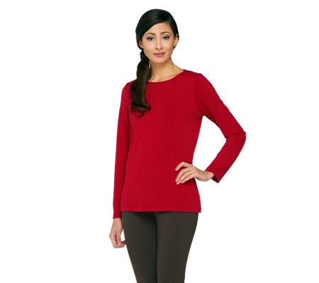 Susan Graver Essentials Liquid Knit Scoop Neck Top