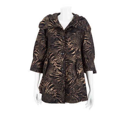 George Simonton 3/4 Sleeve Animal Print Button Front Swing Jacket