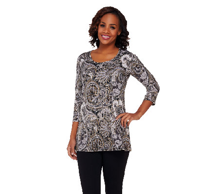 Susan Graver Liquid Knit Foiled Paisley Print Scoop Neck Top