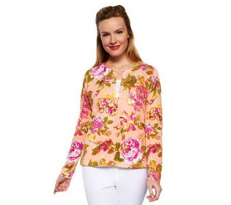 Isaac Mizrahi Live! Crochet Neck Cottage Rose Print Cardigan