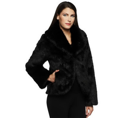 Dennis Basso Platinum Collection Faux Fur Chubby Coat