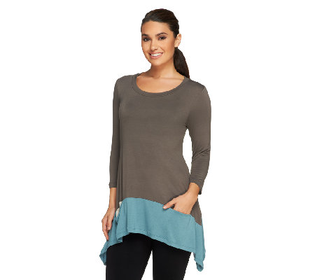 LOGO by Lori Goldstein Knit Top with Contrast Hem & Pockets