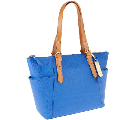 Emma & Sophia Saffiano Leather Addison Zip Top Tote