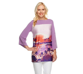 George Simonton Boatneck Printed Tunic with Chic Jersey Back - A252978