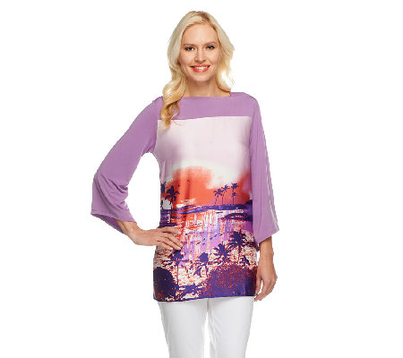 George Simonton Boatneck Printed Tunic with Chic Jersey Back