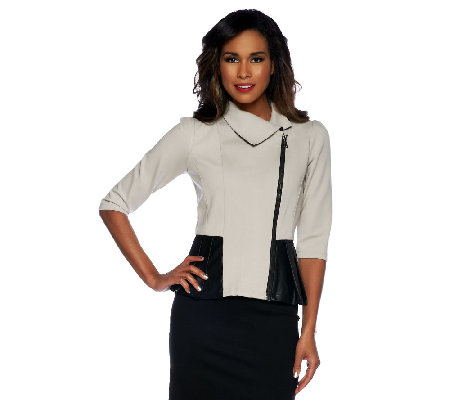 Project Runway by Seth Aaron Ponte Knit Peplum Jacket w/ Trim Detail