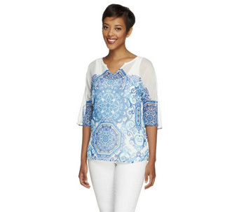 Isaac Mizrahi Live! Porcelain Print Sheer Top with Tank - A253878