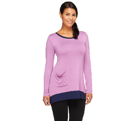 LOGO by Lori Goldstein Knit Top with Contrast Trim and Pockets