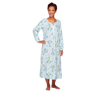 "Carole Hochman Cotton Jersey 48"" Floral Long Sleeve Nightgown - A256278"