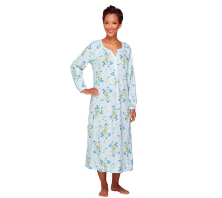 "Carole Hochman Cotton Jersey 48"" Floral Long Sleeve Nightgown"
