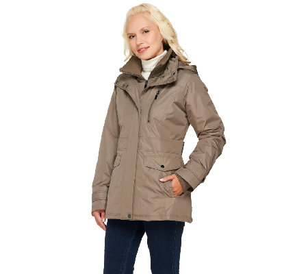 Liz Claiborne New York Zip Front Coat with Hood