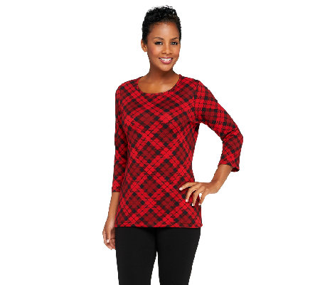 Denim & Co. Brushed Heavenly Jersey Bias Plaid 3/4 Sleeve Top