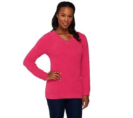 Susan Graver Cozy Knit Long Sleeve V-Neck Sweater with Pockets