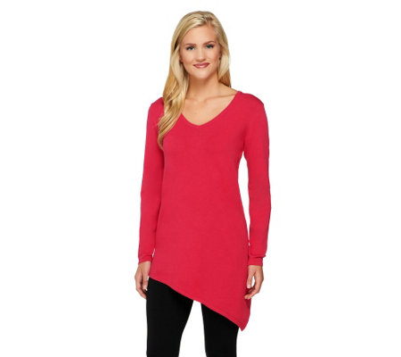 Susan Graver Rayon/Nylon Long Sleeve Sweater with Asymmetric Hem