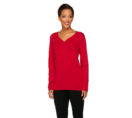 Susan Graver Essential Rayon Nylon Crossover V-Neck Sweater
