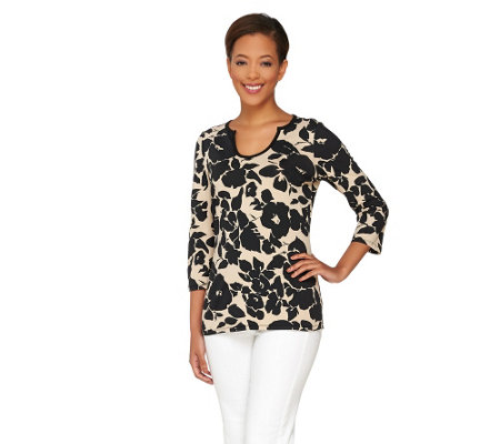 Liz Claiborne New York Floral Printed Y-Neck Tee