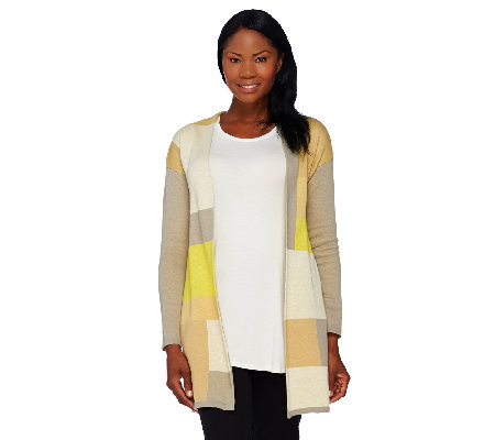 H by Halston Patchwork Tonal Color-Block Sweater Coat
