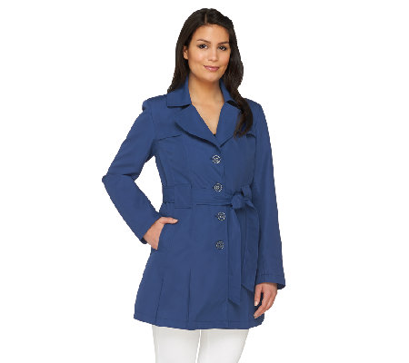 Dennis Basso Water Resistant Trench Coat with Pleat Detail