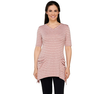LOGO by Lori Goldstein Elbow Sleeve Stripe Top with Sharkbite Hem