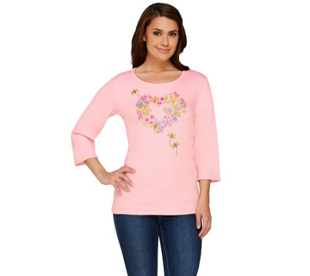 Quacker Factory Bee-Happy 3/4 Sleeve Knit T-Shirt