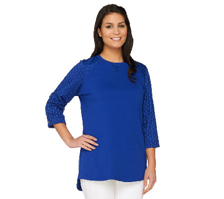 Denim & Co Active Petite Tunic with Knit Eyelet Trim