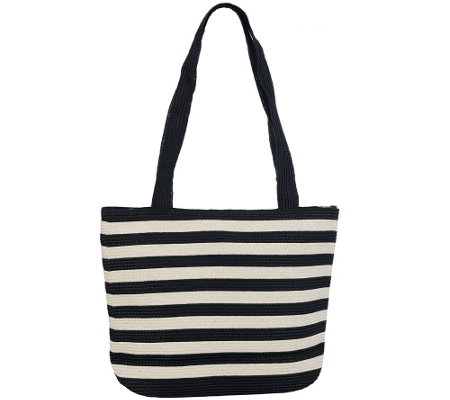 Denim & Co. Beach Bag with Zipper