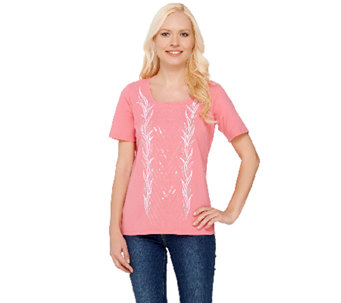 Bob Mackie's Short Sleeve Sequin and Embroidered Knit T-shirt - A266378