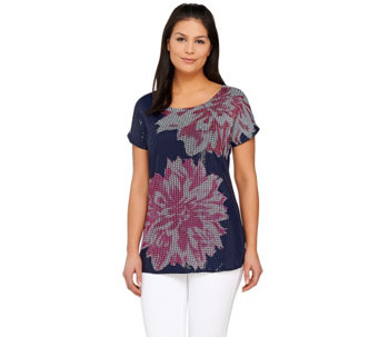 Kelly by Clinton Kelly Floral Printed Sequin Top - A266478