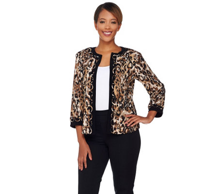 Joan Rivers Animal Print Jersey Knit Jacket with 3/4 Sleeves