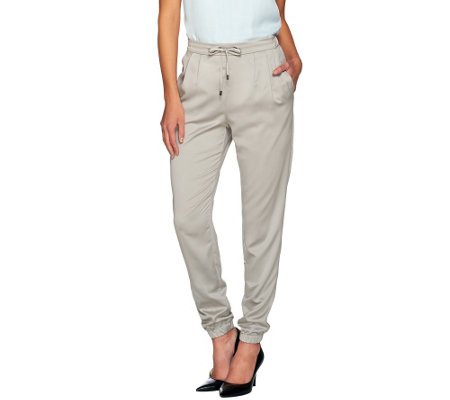 H by Halston Regular Woven Pull-On Drawstring Jogger Pants