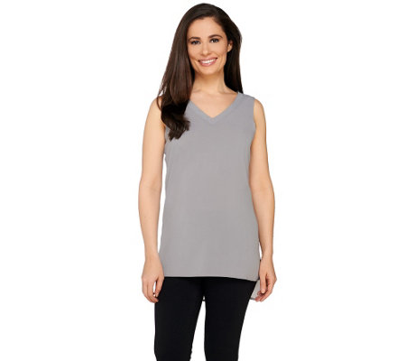 """As Is"" Susan Graver Stretch Woven V-Neck Tank with Hi-Low Hem"
