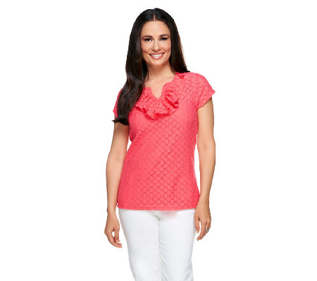 """As Is"" Isaac Mizrahi Live! Knit Lace Top with Ruffle Neckline"