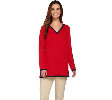 Susan Graver Dolce Knit Long Sleeve Hooded Pullover Tunic