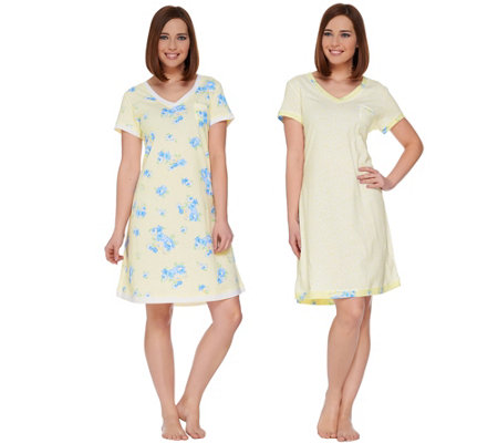 Carole Hochman Gardenia Blossoms Sleepshirt Set of Two