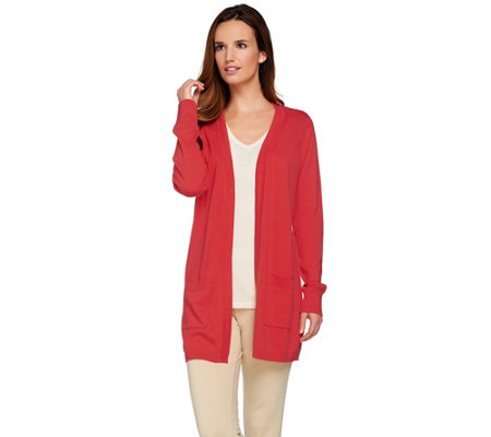 Joan Rivers Knit Boyfriend Cardigan with Ribbed Waist Detail