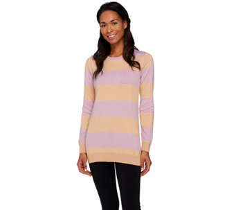 LOGO by Lori Goldstein Cotton Cashmere Striped Sweater with Chiffon - A273878