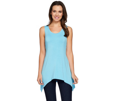LOGO by Lori Goldstein Scoop Neck Knit Tank with Asymmetric Hem