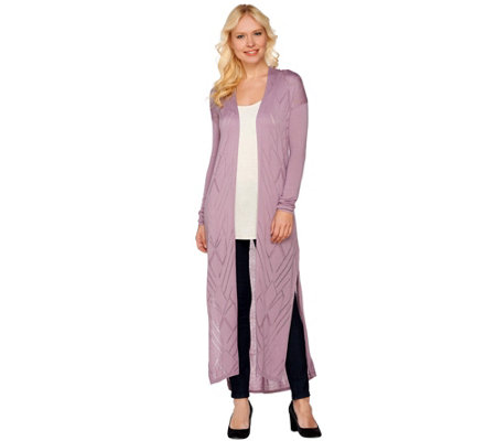 H by Halston Open Front Long Cardigan with Stitch Detail