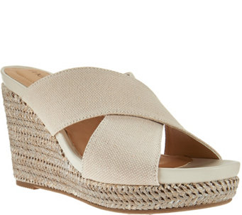 Me Too Canvas Cross Strap Slide Wedges - Athena - A275578