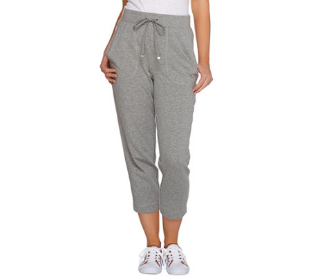 Isaac Mizrahi Live! SOHO Drawstring Knit Crop Pants