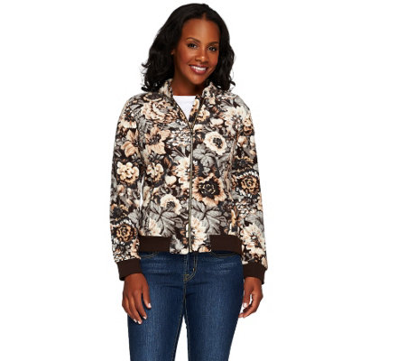 """As Is"" Isaac Mizrahi Live! Printed Floral Fleece Bomber Jacket"